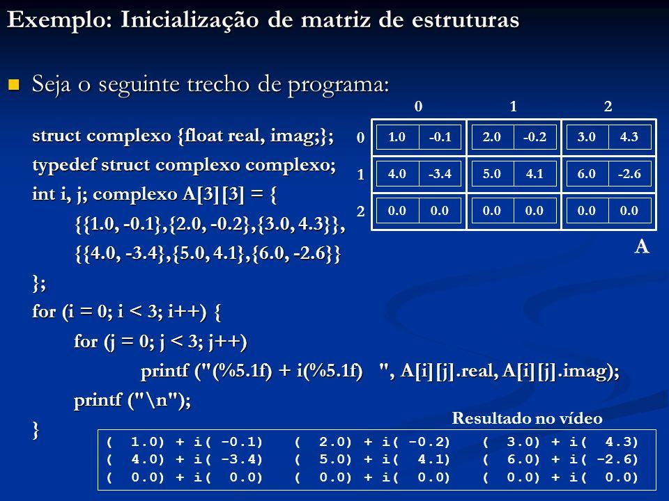 Exemplo: Inicialização de matriz de estruturas Seja o seguinte trecho de programa: Seja o seguinte trecho de programa: struct complexo {float real, imag;}; typedef struct complexo complexo; int i, j; complexo A[3][3] = { {{1.0, -0.1},{2.0, -0.2},{3.0, 4.3}}, {{4.0, -3.4},{5.0, 4.1},{6.0, -2.6}} }; for (i = 0; i < 3; i++) { for (j = 0; j < 3; j++) printf ( (%5.1f) + i(%5.1f) , A[i][j].real, A[i][j].imag); printf ( \n ); } 1.0-0.12.0-0.23.04.3 4.0-3.45.04.16.0-2.6 0.0 A 012 0 1 2 ( 1.0) + i( -0.1) ( 2.0) + i( -0.2) ( 3.0) + i( 4.3) ( 4.0) + i( -3.4) ( 5.0) + i( 4.1) ( 6.0) + i( -2.6) ( 0.0) + i( 0.0) ( 0.0) + i( 0.0) ( 0.0) + i( 0.0) Resultado no vídeo