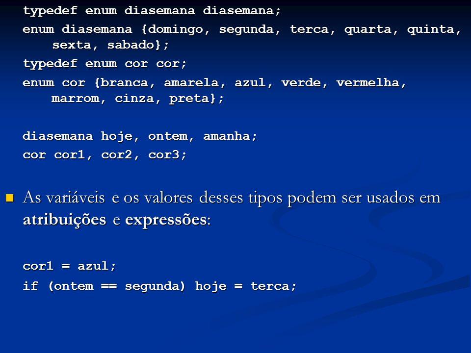 typedef enum diasemana diasemana; enum diasemana {domingo, segunda, terca, quarta, quinta, sexta, sabado}; typedef enum cor cor; enum cor {branca, amarela, azul, verde, vermelha, marrom, cinza, preta}; diasemana hoje, ontem, amanha; cor cor1, cor2, cor3; As variáveis e os valores desses tipos podem ser usados em atribuições e expressões: As variáveis e os valores desses tipos podem ser usados em atribuições e expressões: cor1 = azul; if (ontem == segunda) hoje = terca;