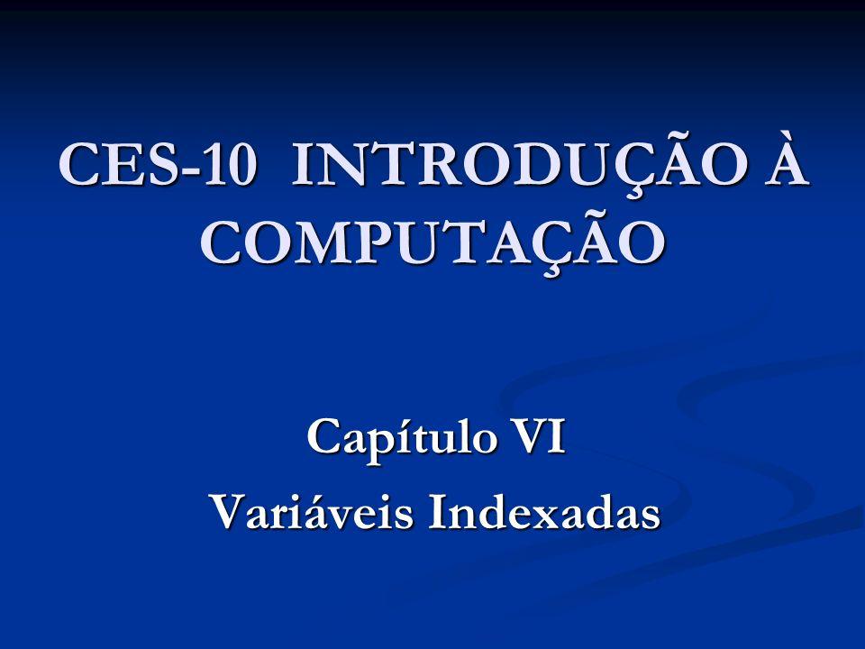Capítulo VI – Variáveis Indexadas 6.1 – A necessidade de variáveis indexadas 6.2 – Vetores e matrizes 6.3 – Aplicações com vetores numéricos 6.4 – Aplicações com matrizes numéricas 6.5 – Cadeias de caracteres 6.6 – Aplicações com vetores de cadeias de caracteres