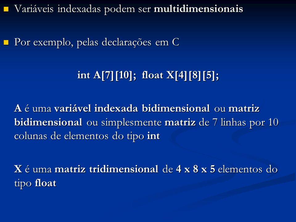 Variáveis indexadas podem ser multidimensionais Variáveis indexadas podem ser multidimensionais Por exemplo, pelas declarações em C Por exemplo, pelas