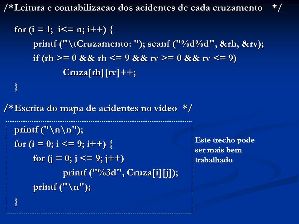 /*Leitura e contabilizacao dos acidentes de cada cruzamento*/ for (i = 1; i<= n; i++) { printf (