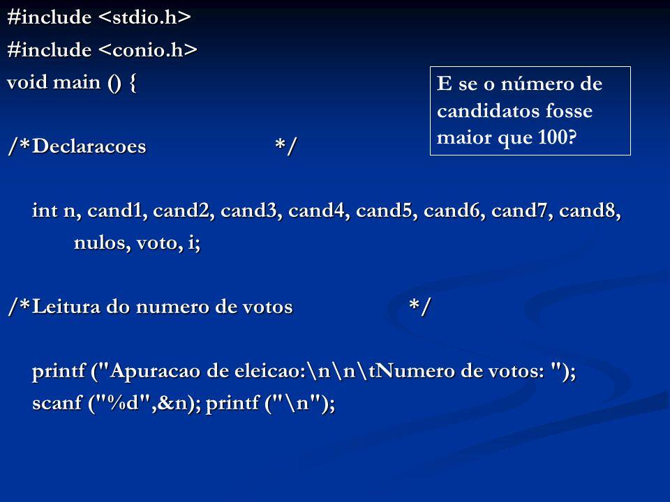 /*Inicializacao dos contadores de votos com zero*/ cand1 = cand2 = cand3 = cand4 = cand5 = cand6 = cand7 = cand8 = nulos = 0; /*Leitura e contabilizacao dos votos */ for (i = 1; i <= n; i++) { printf ( \t\tVoto: ); scanf ( %d , &voto); switch (voto) { case 1: cand1++; break; case 2: cand2++; break; case 3: cand3++; break; case 4: cand4++; break; case 5: cand5++; break; case 6: cand6++; break; case 7: cand7++; break; case 8: cand8++; break; default: nulos++; }} E se o número de candidatos fosse maior que 100?