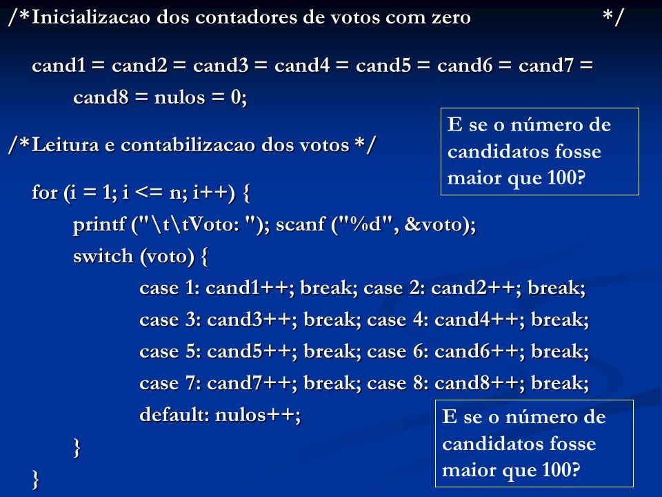 /*Escrita do resultado*/ printf ( \n\nResultado: \n\n\tcand1: %d; cand2: %d , cand1, cand2); printf ( \n\tcand3: %d; cand4: %d , cand3, cand4); printf ( \n\tcand5: %d; cand6: %d , cand5, cand6); printf ( \n\tcand7: %d; cand8: %d , cand7, cand8); printf ( \n\tnulos: %d , nulos); printf ( \n\tnulos: %d , nulos); /*Fechamento da tela*/ printf ( \n\nDigite algo para encerrar: ); printf ( \n\nDigite algo para encerrar: ); getch (); } E se o número de candidatos fosse maior que 100?