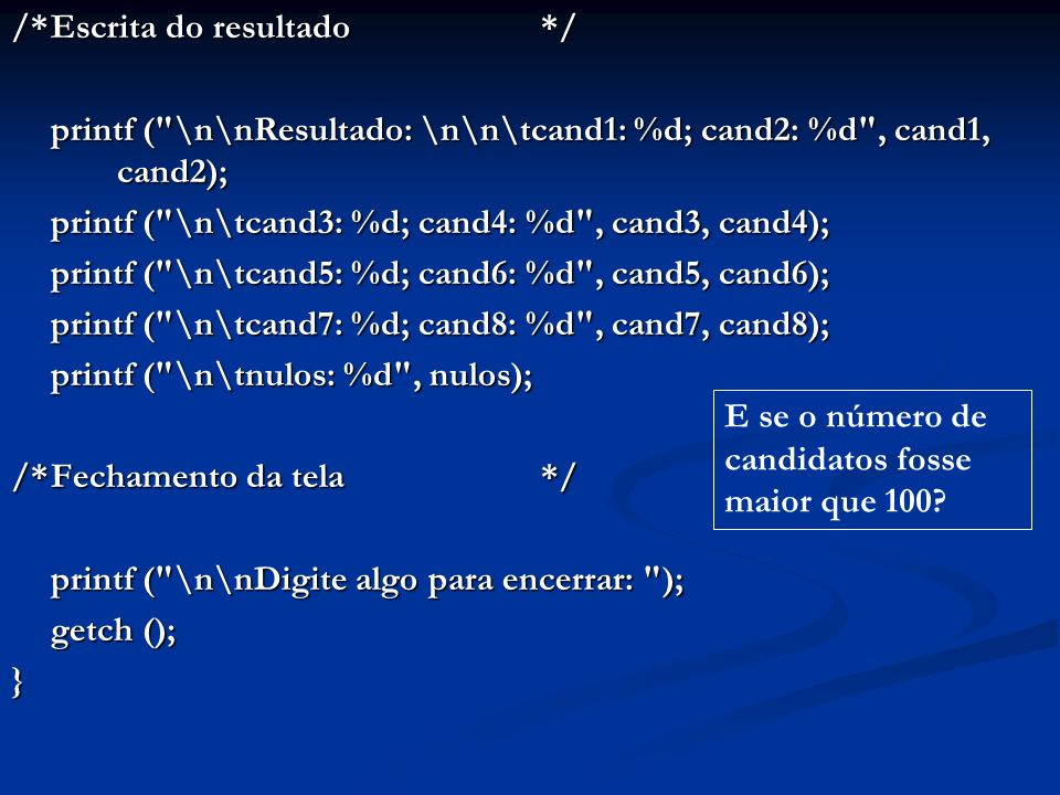 #include #include void main () { int A[10][10], m, n, i, j; printf ( Leitura e escrita de matriz\n\n ); do { do { printf ( \nDimensoes m e n (<= 10): ); printf ( \nDimensoes m e n (<= 10): ); scanf ( %d%d , &m, &n); scanf ( %d%d , &m, &n); } while (m 10 || n 10); } while (m 10 || n 10); printf ( \n\n ); printf ( \n\n ); for (i = 0; i <= m-1; i++) { printf ( %d elementos da linha %d: , n, i); for (j = 0; j <= n-1; j++) scanf ( %d , &A[i][j]); } printf ( \n\nMatriz A:\n\n ); for (i = 0; i <= m-1; i++) { for (j = 0; j <= n-1; j++) printf ( %4d , A[i][j]); printf ( \n\n ); } printf ( \n\nDigite algo para encerrar: ); getch (); } Leitura e escrita de matriz por teclado e vídeo