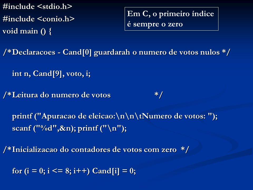 /*Leitura e contabilizacao dos votos*/ for (i = 1; i <= n; i++) { printf ( \t\tVoto: ); scanf ( %d , &voto); if (voto >= 1 && voto = 1 && voto <= 8)Cand[voto]++; else elseCand[0]++;}