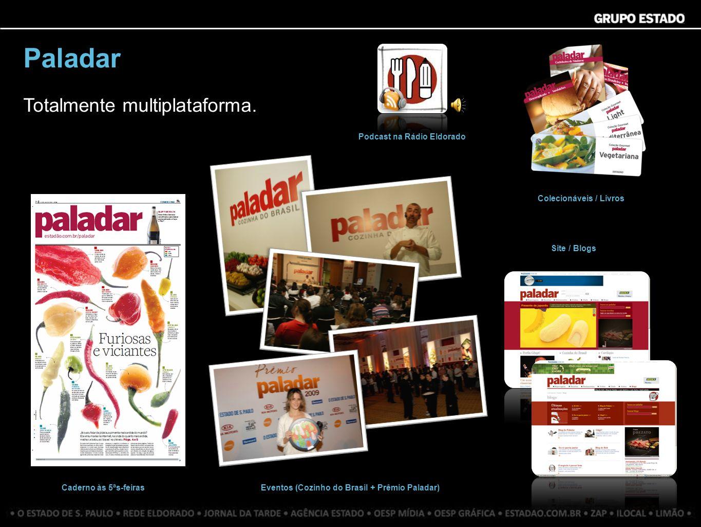 Paladar Totalmente multiplataforma. Caderno às 5ªs-feiras Site / Blogs Colecionáveis / Livros Podcast na Rádio Eldorado Eventos (Cozinho do Brasil + P
