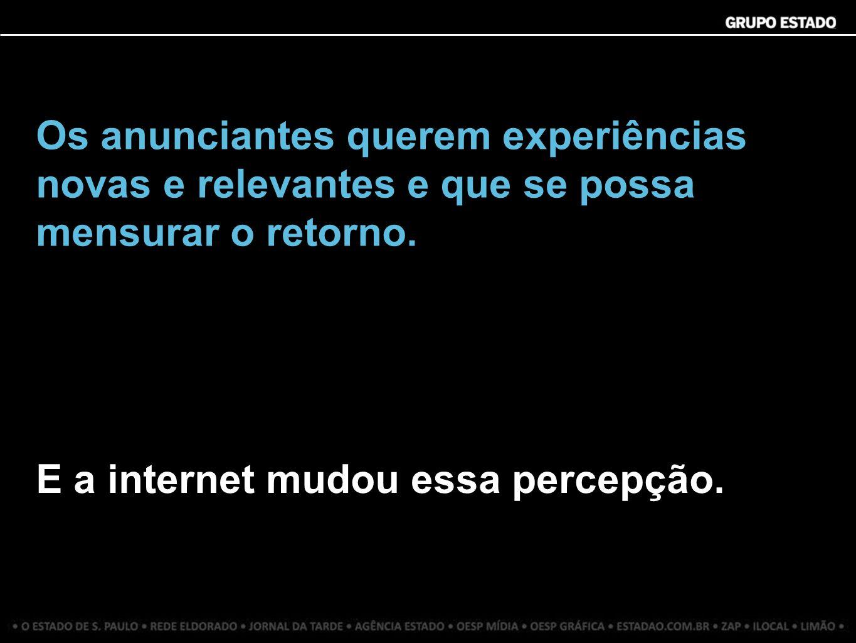 Os anunciantes querem experiências novas e relevantes e que se possa mensurar o retorno. E a internet mudou essa percepção.