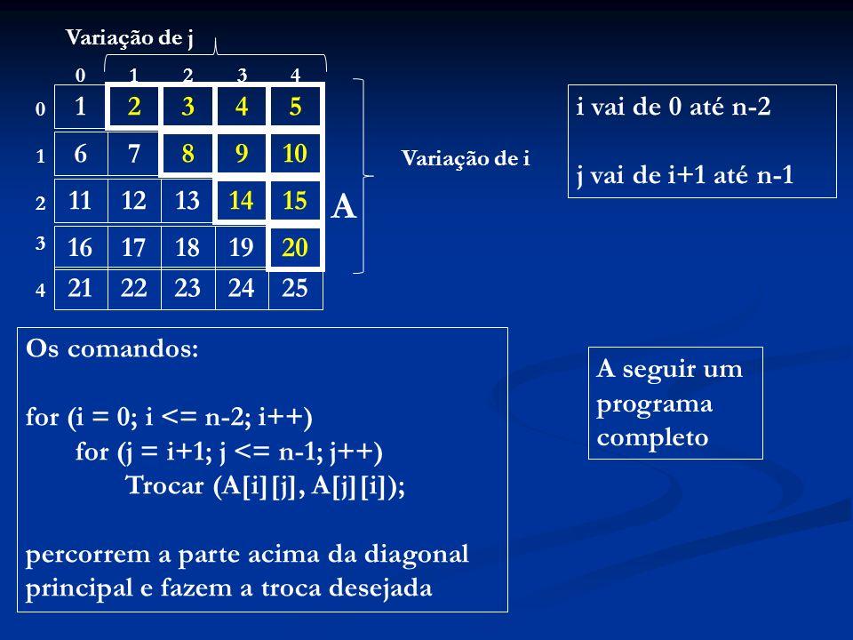 1 2345 67 8910 111213 1415 16171819 20 2122232425 01234 0 1 4 3 2 A Os comandos: for (i = 0; i <= n-2; i++) for (j = i+1; j <= n-1; j++) Trocar (A[i][