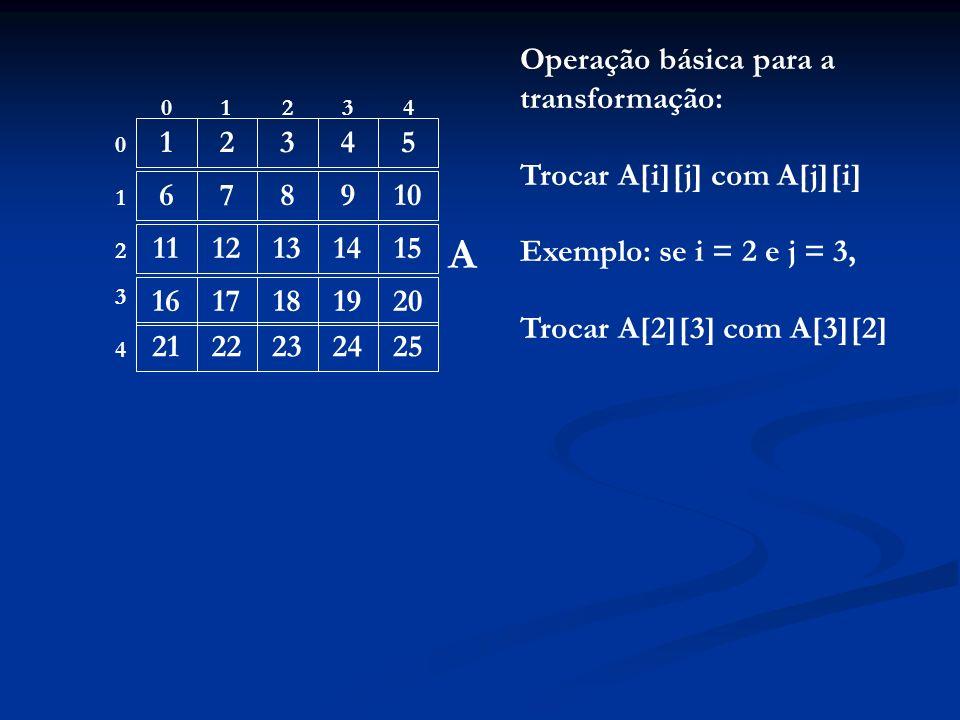 12345 678910 1112131415 1617181920 2122232425 01234 0 1 4 3 2 A Operação básica para a transformação: Trocar A[i][j] com A[j][i] Exemplo: se i = 2 e j