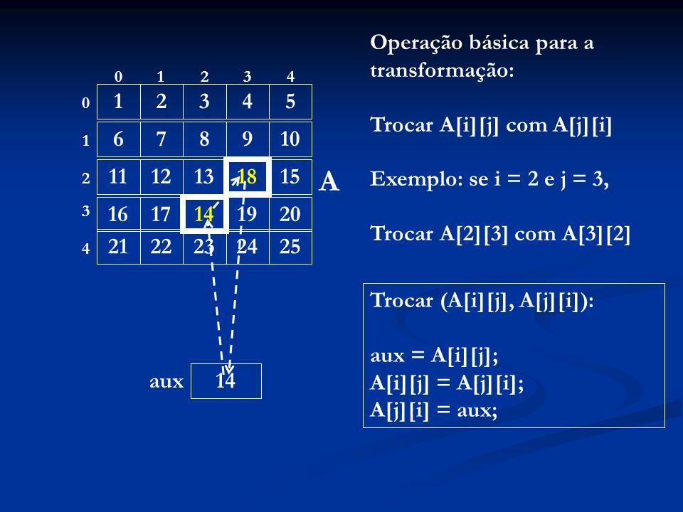 12345 678910 111213 18 15 1617 14 1920 2122232425 01234 0 1 4 3 2 A Operação básica para a transformação: Trocar A[i][j] com A[j][i] Exemplo: se i = 2