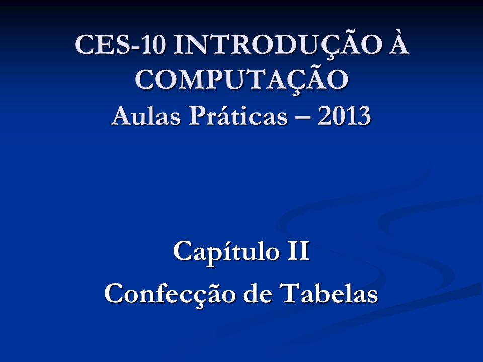 CES-10 INTRODUÇÃO À COMPUTAÇÃO Aulas Práticas – 2013 Capítulo II Confecção de Tabelas