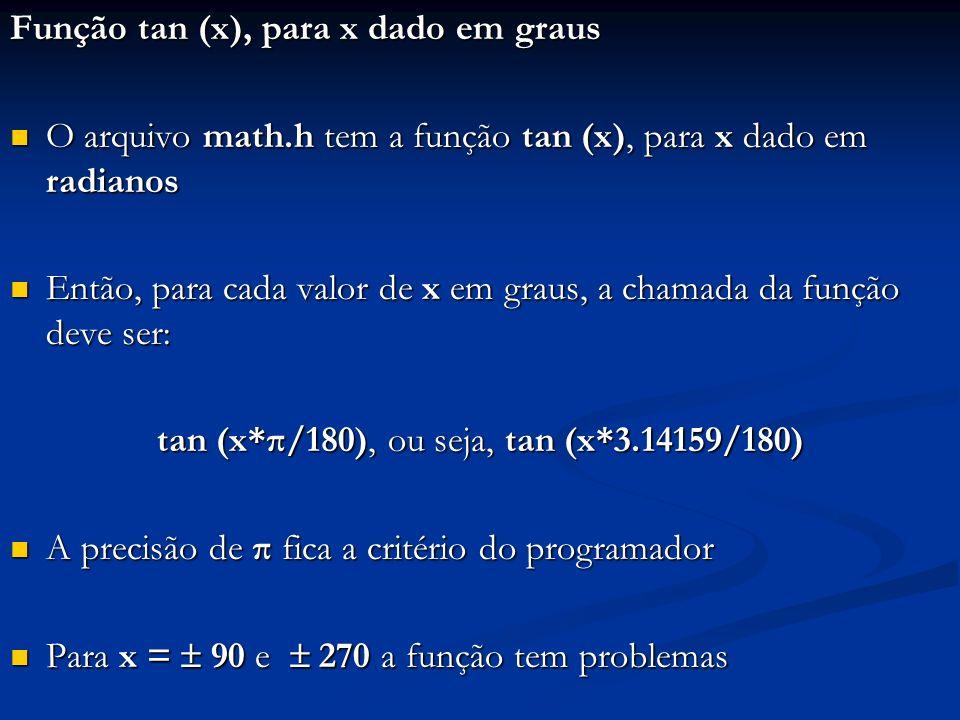 Função tan (x), para x dado em graus O arquivo math.h tem a função tan (x), para x dado em radianos O arquivo math.h tem a função tan (x), para x dado em radianos Então, para cada valor de x em graus, a chamada da função deve ser: Então, para cada valor de x em graus, a chamada da função deve ser: tan (x*π/180), ou seja, tan (x*3.14159/180) A precisão de π fica a critério do programador A precisão de π fica a critério do programador Para x = 90 e 270 a função tem problemas Para x = 90 e 270 a função tem problemas