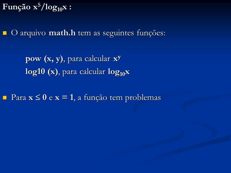 Função x 5 /log 10 x : O arquivo math.h tem as seguintes funções: O arquivo math.h tem as seguintes funções: pow (x, y), para calcular x y log10 (x), para calcular log 10 x Para x 0 e x = 1, a função tem problemas Para x 0 e x = 1, a função tem problemas