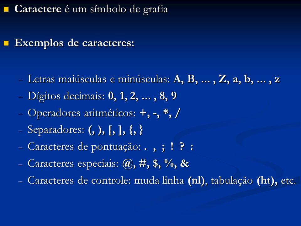 Caractere é um símbolo de grafia Caractere é um símbolo de grafia Exemplos de caracteres: Exemplos de caracteres: Letras maiúsculas e minúsculas: A, B,..., Z, a, b,..., z Letras maiúsculas e minúsculas: A, B,..., Z, a, b,..., z Dígitos decimais: 0, 1, 2,..., 8, 9 Dígitos decimais: 0, 1, 2,..., 8, 9 Operadores aritméticos: +, -, *, / Operadores aritméticos: +, -, *, / Separadores: (, ), [, ], {, } Separadores: (, ), [, ], {, } Caracteres de pontuação:., ; .