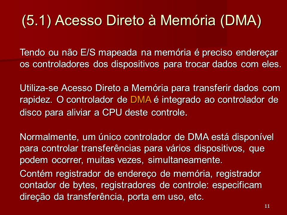 11 (5.1) Acesso Direto à Memória (DMA) Tendo ou não E/S mapeada na memória é preciso endereçar os controladores dos dispositivos para trocar dados com