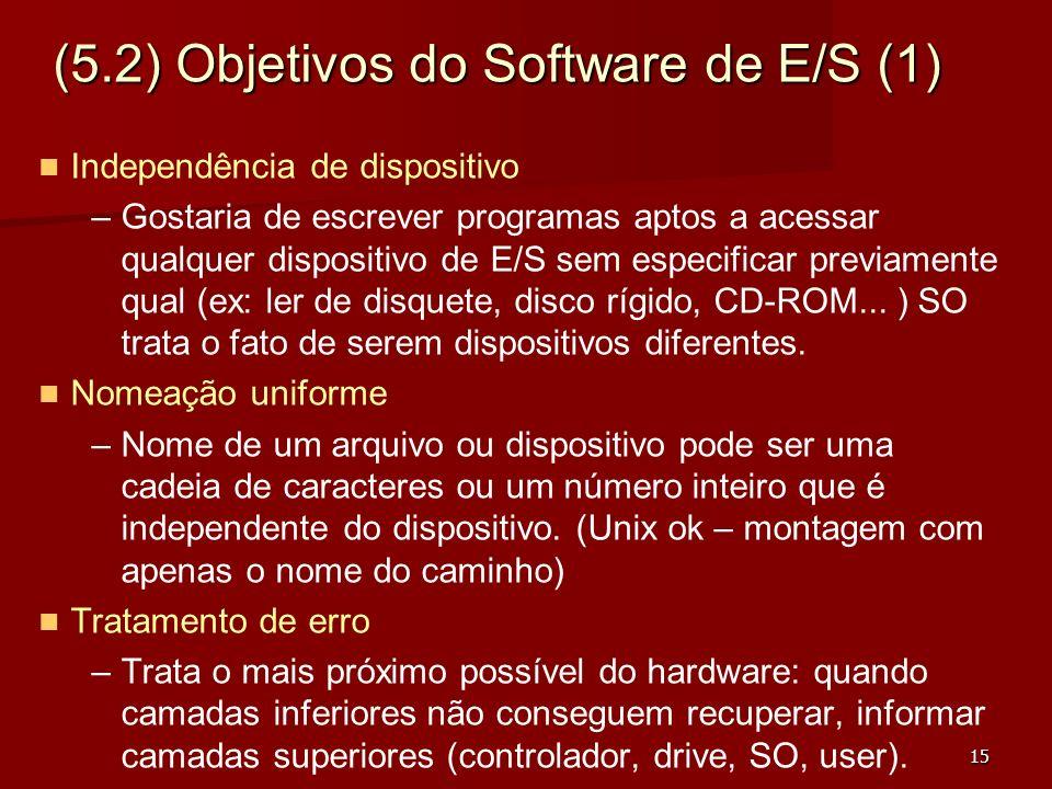 15 (5.2) Objetivos do Software de E/S (1) Independência de dispositivo – –Gostaria de escrever programas aptos a acessar qualquer dispositivo de E/S s