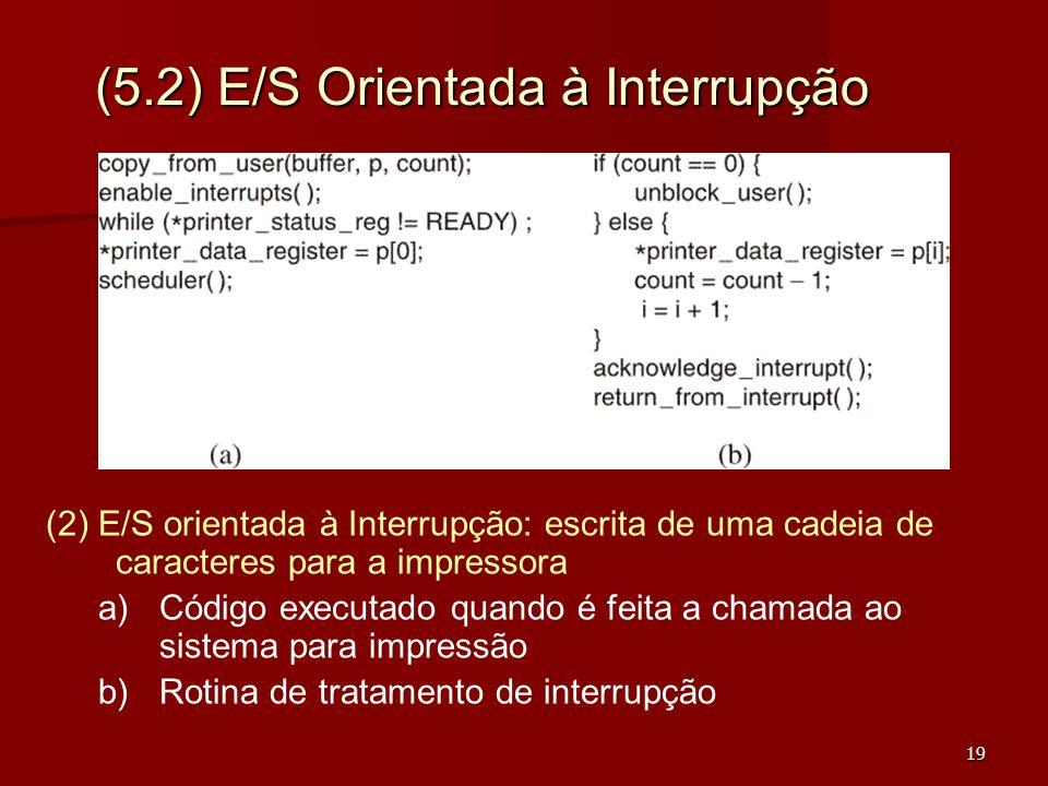 19 (5.2) E/S Orientada à Interrupção (2) E/S orientada à Interrupção: escrita de uma cadeia de caracteres para a impressora a) a)Código executado quan