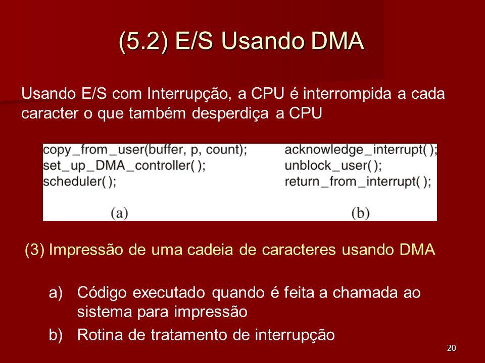 20 (5.2) E/S Usando DMA (3) Impressão de uma cadeia de caracteres usando DMA a) a)Código executado quando é feita a chamada ao sistema para impressão
