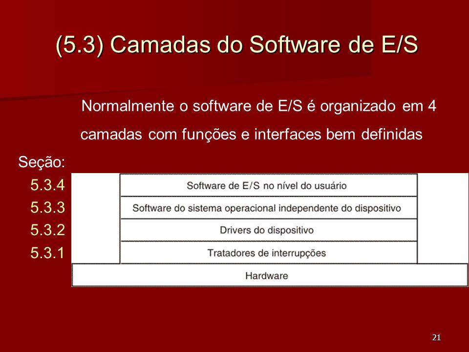 21 (5.3) Camadas do Software de E/S Normalmente o software de E/S é organizado em 4 camadas com funções e interfaces bem definidas Seção: 5.3.4 5.3.3
