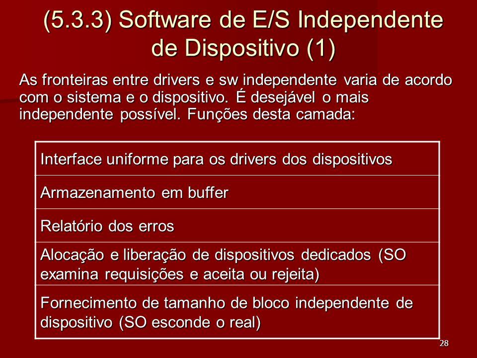 28 (5.3.3) Software de E/S Independente de Dispositivo (1) As fronteiras entre drivers e sw independente varia de acordo com o sistema e o dispositivo