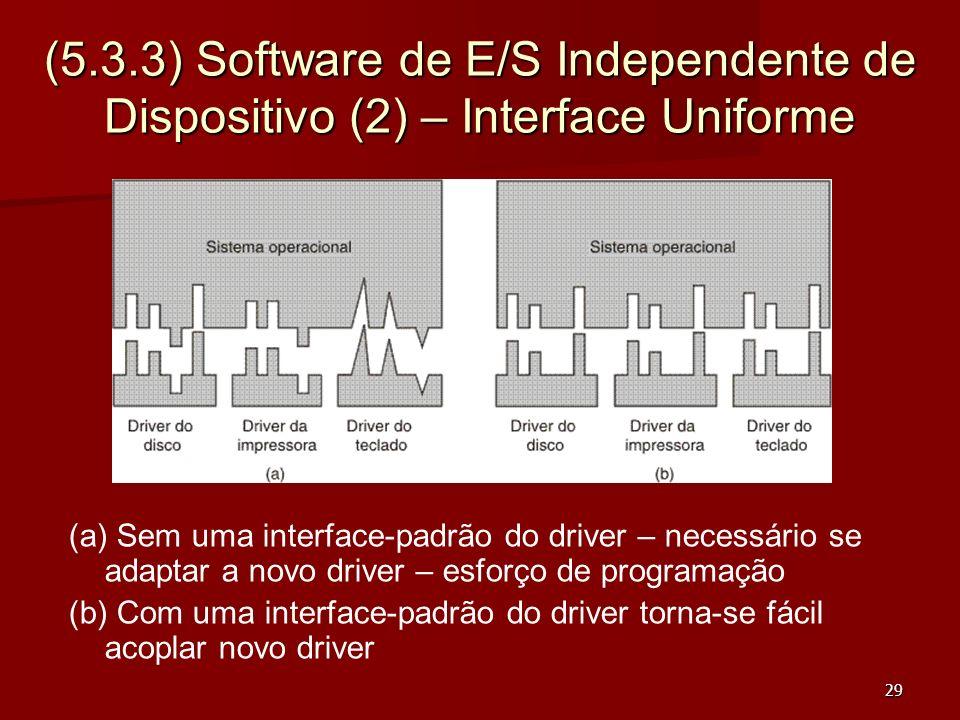 29 (5.3.3) Software de E/S Independente de Dispositivo (2) – Interface Uniforme (a) Sem uma interface-padrão do driver – necessário se adaptar a novo