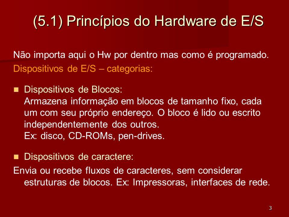 3 (5.1) Princípios do Hardware de E/S Não importa aqui o Hw por dentro mas como é programado. Dispositivos de E/S – categorias: Dispositivos de Blocos
