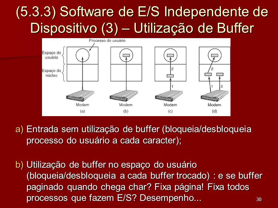 30 (5.3.3) Software de E/S Independente de Dispositivo (3) – Utilização de Buffer a)Entrada sem utilização de buffer (bloqueia/desbloqueia processo do