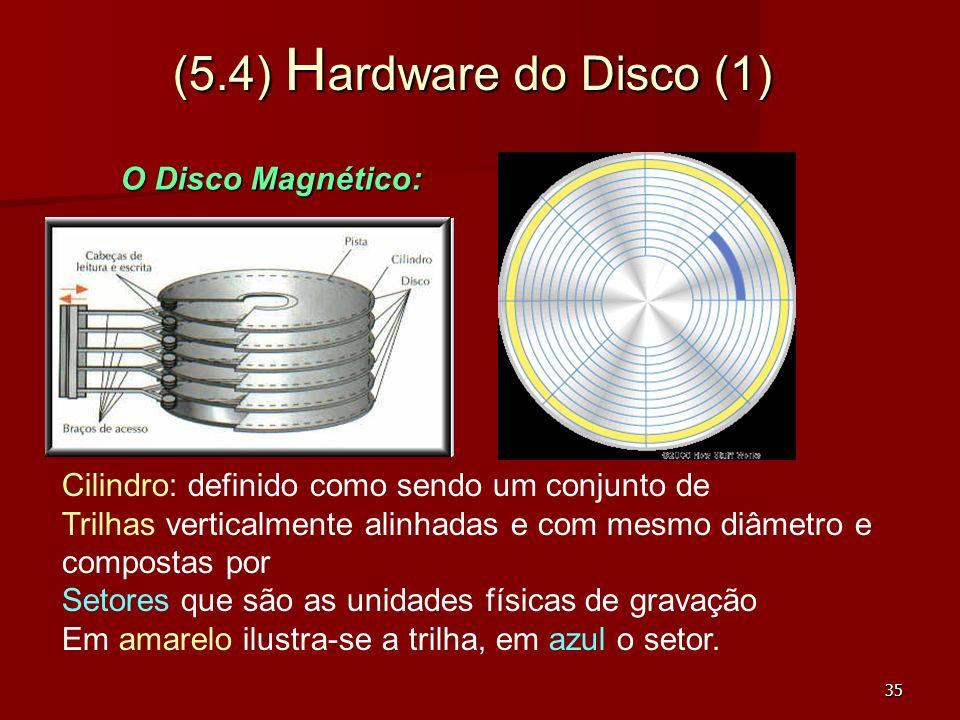 35 (5.4) H ardware do Disco (1) Cilindro: definido como sendo um conjunto de Trilhas verticalmente alinhadas e com mesmo diâmetro e compostas por Seto
