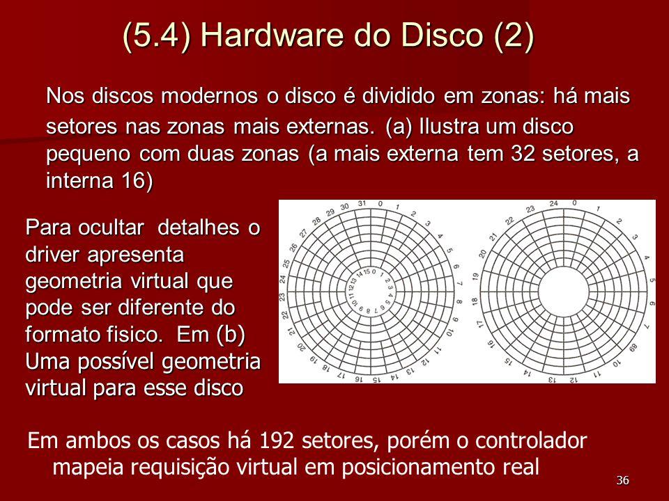 36 (5.4) Hardware do Disco (2) Em ambos os casos há 192 setores, porém o controlador mapeia requisição virtual em posicionamento real Nos discos moder