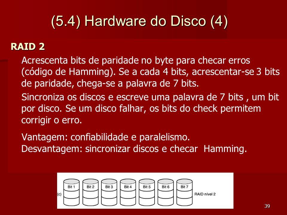 39 (5.4) Hardware do Disco (4) RAID 2 Acrescenta bits de paridade no byte para checar erros (código de Hamming). Se a cada 4 bits, acrescentar-se 3 bi