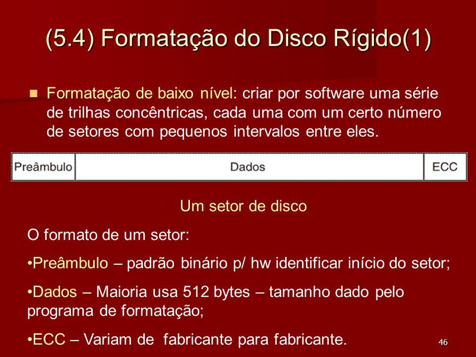 46 (5.4) Formatação do Disco Rígido(1) Formatação de baixo nível: criar por software uma série de trilhas concêntricas, cada uma com um certo número d
