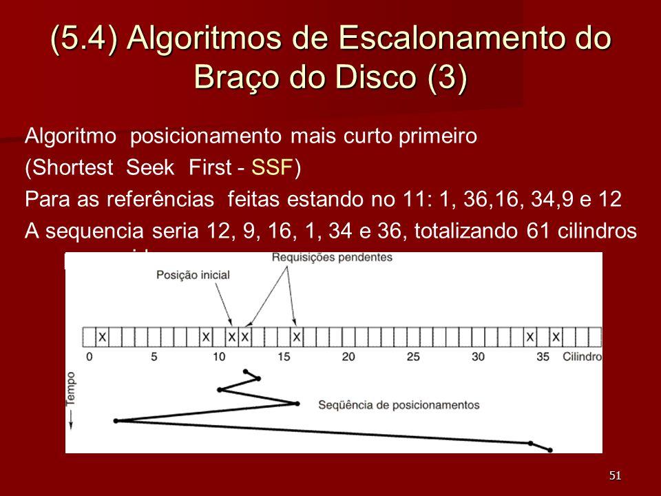51 (5.4) Algoritmos de Escalonamento do Braço do Disco (3) Algoritmo posicionamento mais curto primeiro (Shortest Seek First - SSF) Para as referência
