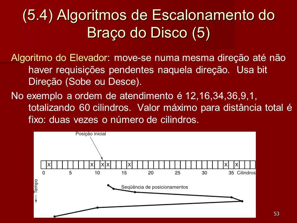 53 (5.4) Algoritmos de Escalonamento do Braço do Disco (5) Algoritmo do Elevador: move-se numa mesma direção até não haver requisições pendentes naque