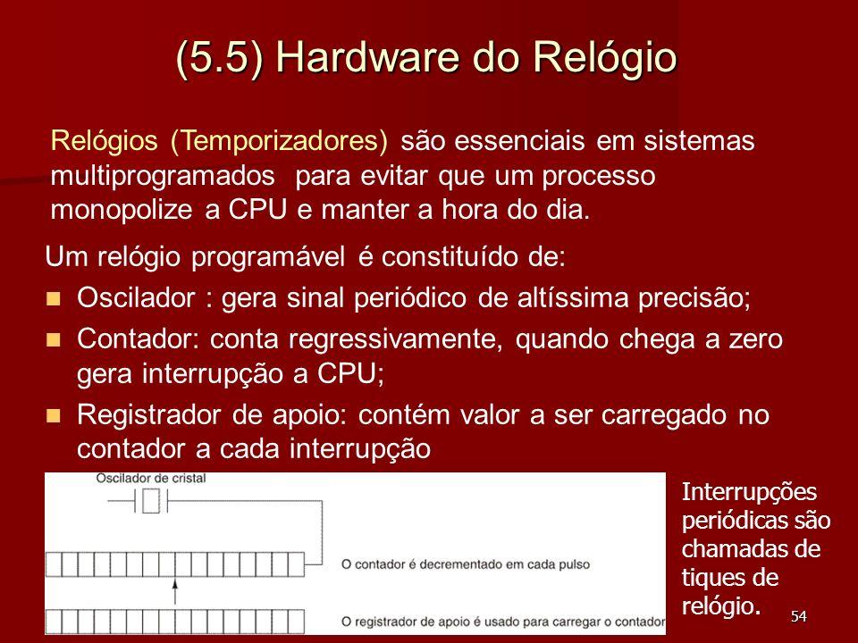 54 (5.5) Hardware do Relógio Um relógio programável é constituído de: Oscilador : gera sinal periódico de altíssima precisão; Contador: conta regressi