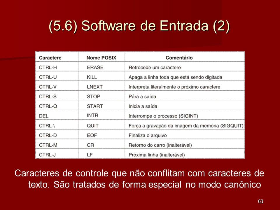 63 (5.6) Software de Entrada (2) Caracteres de controle que não conflitam com caracteres de texto. São tratados de forma especial no modo canônico