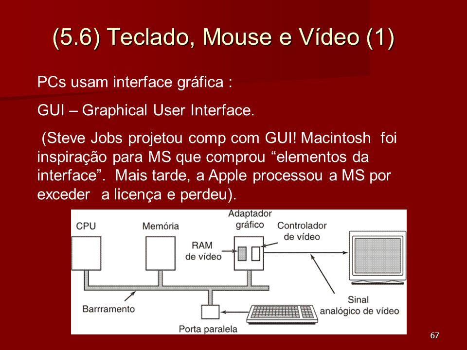 67 (5.6) Teclado, Mouse e Vídeo (1) PCs usam interface gráfica : GUI – Graphical User Interface. (Steve Jobs projetou comp com GUI! Macintosh foi insp