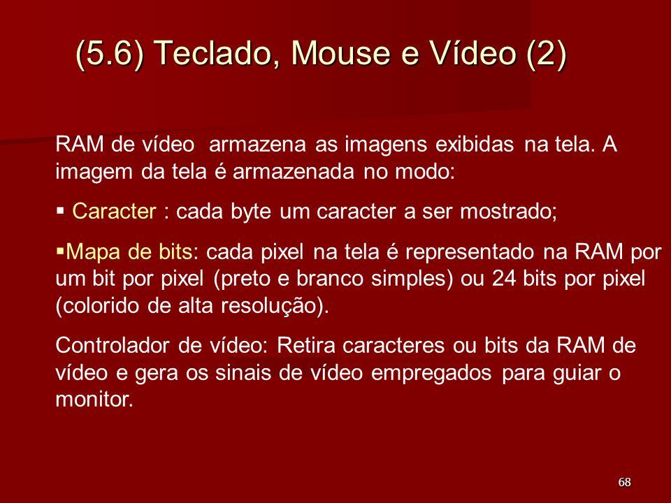 68 (5.6) Teclado, Mouse e Vídeo (2) RAM de vídeo armazena as imagens exibidas na tela. A imagem da tela é armazenada no modo: Caracter : cada byte um