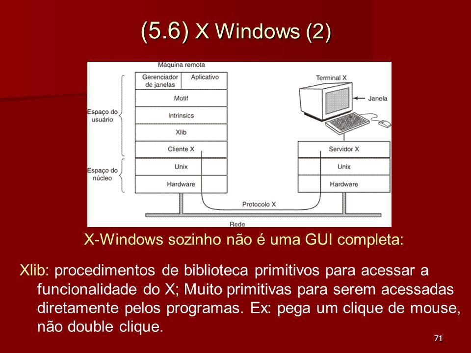 71 (5.6) X Windows (2) Xlib: procedimentos de biblioteca primitivos para acessar a funcionalidade do X; Muito primitivas para serem acessadas diretame