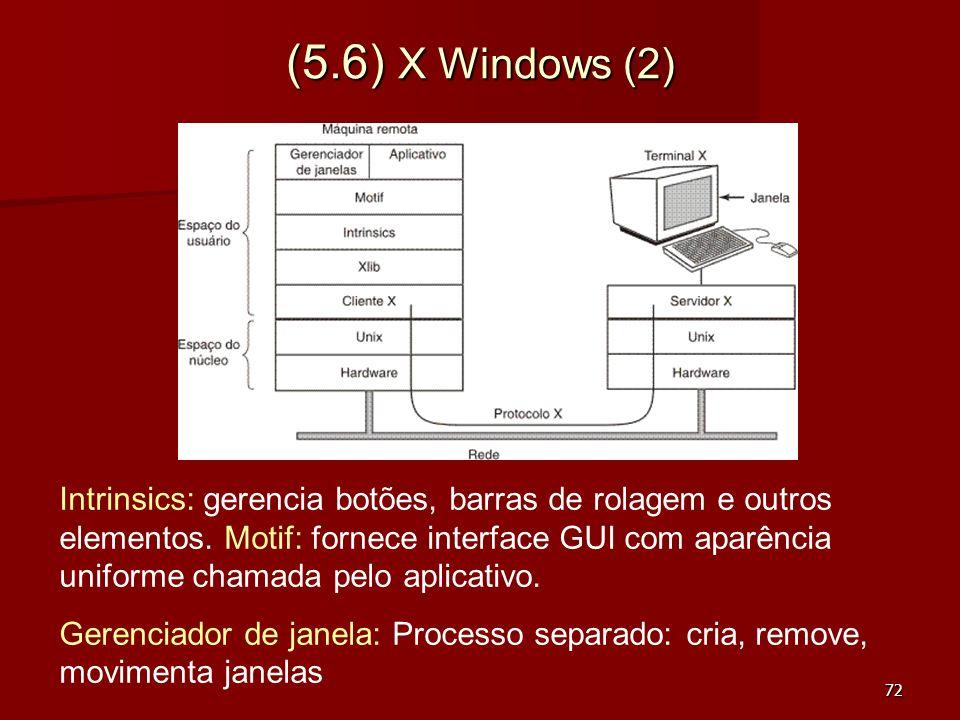 72 (5.6) X Windows (2) Intrinsics: gerencia botões, barras de rolagem e outros elementos. Motif: fornece interface GUI com aparência uniforme chamada