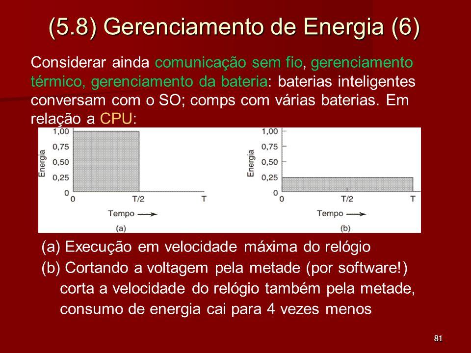 81 (5.8) Gerenciamento de Energia (6) (a) Execução em velocidade máxima do relógio (b) Cortando a voltagem pela metade (por software!) corta a velocid