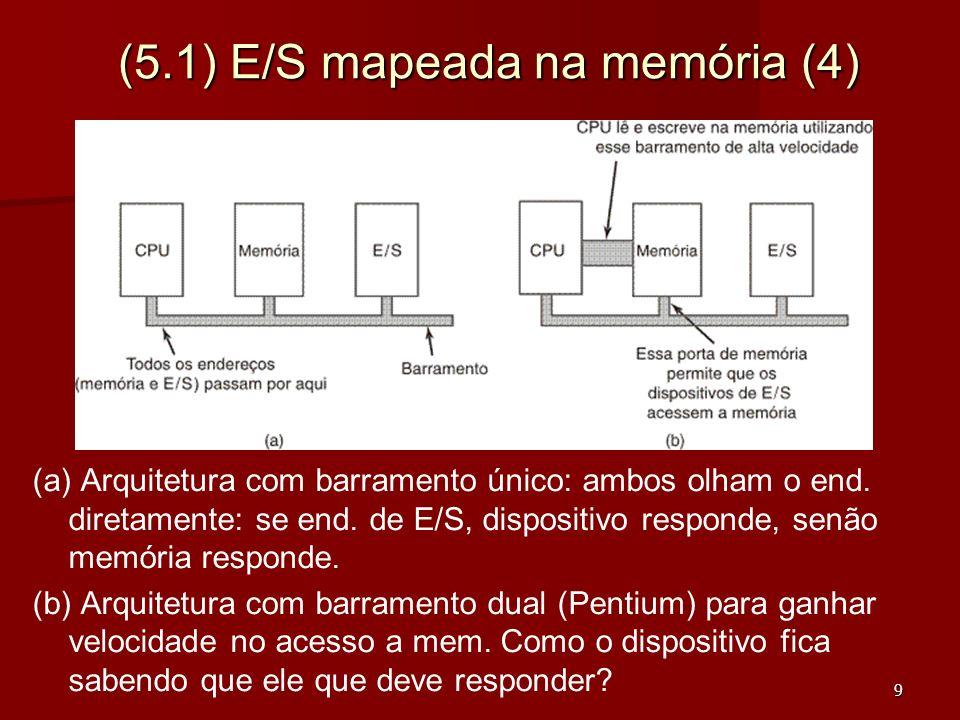 20 (5.2) E/S Usando DMA (3) Impressão de uma cadeia de caracteres usando DMA a) a)Código executado quando é feita a chamada ao sistema para impressão b) b)Rotina de tratamento de interrupção Usando E/S com Interrupção, a CPU é interrompida a cada caracter o que também desperdiça a CPU