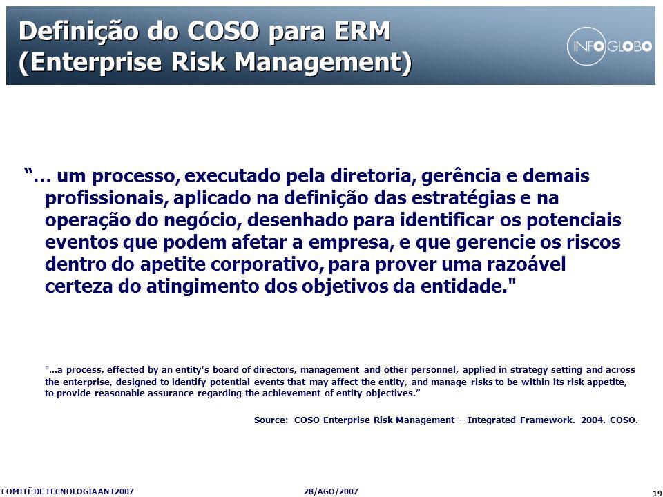 28/AGO/2007 COMITÊ DE TECNOLOGIA ANJ 2007 19 Definição do COSO para ERM (Enterprise Risk Management) … um processo, executado pela diretoria, gerência