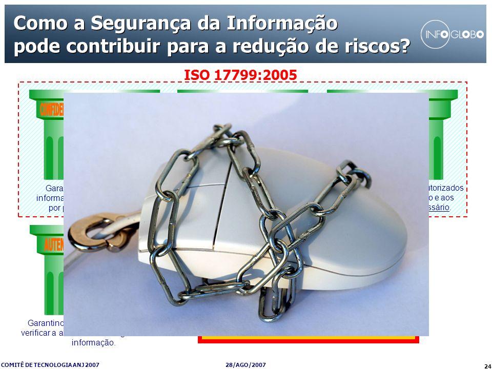 28/AGO/2007 COMITÊ DE TECNOLOGIA ANJ 2007 24 ISO 17799:2005 Garantindo que o acesso à informação seja obtido somente por pessoas autorizadas. Garantin