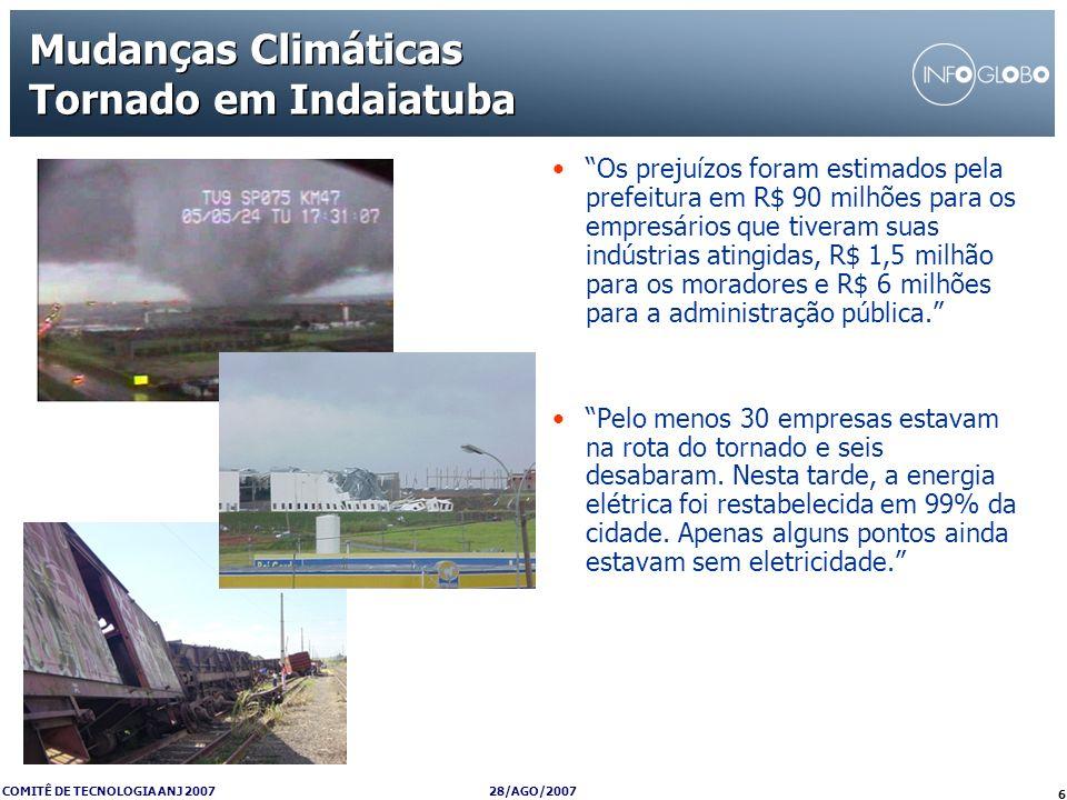 28/AGO/2007 COMITÊ DE TECNOLOGIA ANJ 2007 6 Mudanças Climáticas Tornado em Indaiatuba Os prejuízos foram estimados pela prefeitura em R$ 90 milhões pa