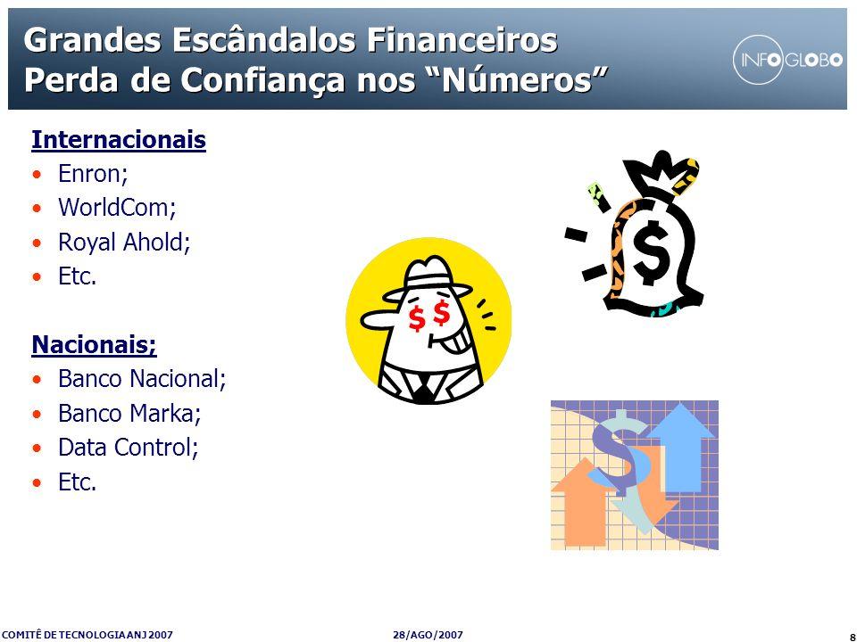 28/AGO/2007 COMITÊ DE TECNOLOGIA ANJ 2007 8 Grandes Escândalos Financeiros Perda de Confiança nos Números Internacionais Enron; WorldCom; Royal Ahold;