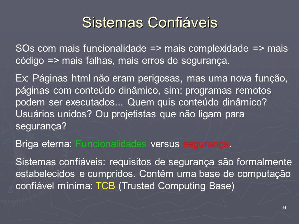 11 Sistemas Confiáveis SOs com mais funcionalidade => mais complexidade => mais código => mais falhas, mais erros de segurança.