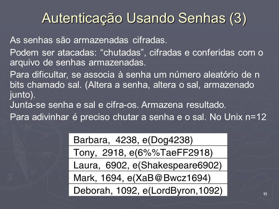 15 Autenticação Usando Senhas (3) As senhas são armazenadas cifradas. Podem ser atacadas: chutadas, cifradas e conferidas com o arquivo de senhas arma