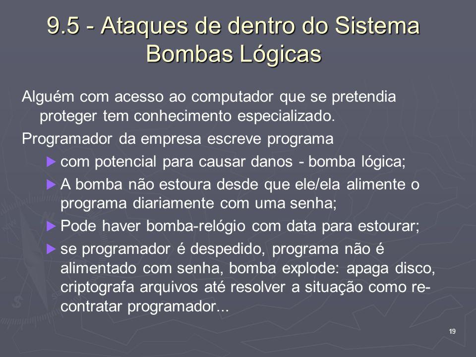 19 9.5 - Ataques de dentro do Sistema Bombas Lógicas Alguém com acesso ao computador que se pretendia proteger tem conhecimento especializado. Program