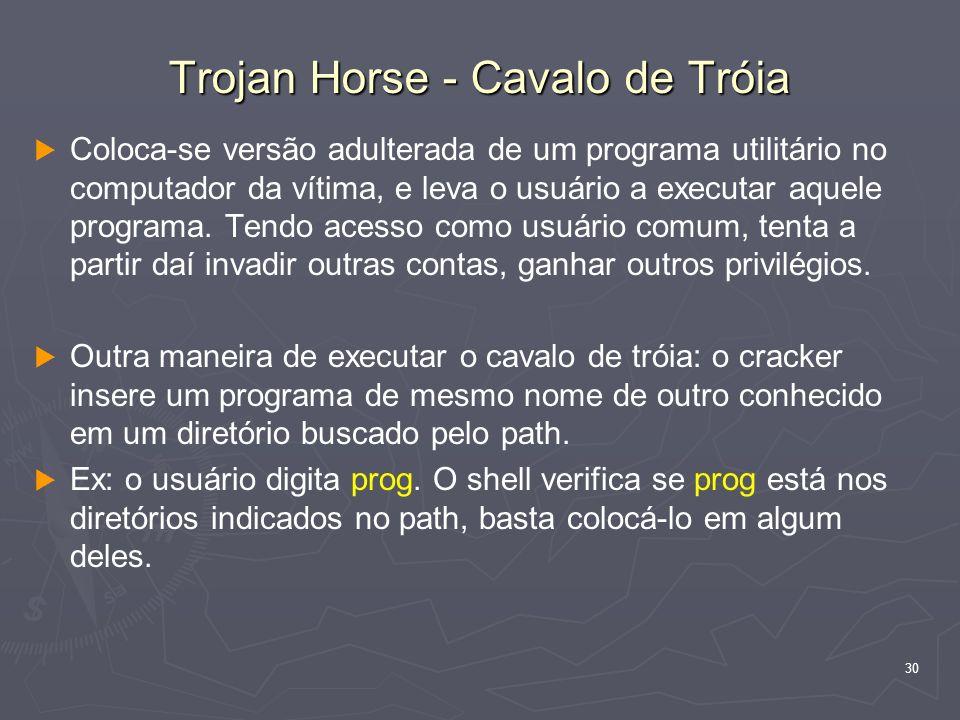 30 Trojan Horse - Cavalo de Tróia Coloca-se versão adulterada de um programa utilitário no computador da vítima, e leva o usuário a executar aquele pr
