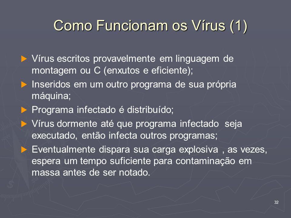 32 Como Funcionam os Vírus (1) Vírus escritos provavelmente em linguagem de montagem ou C (enxutos e eficiente); Inseridos em um outro programa de sua